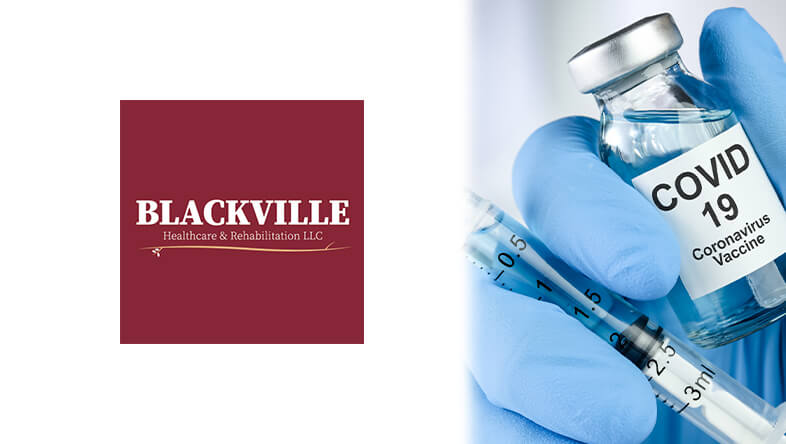 COVID 19 Vaccine Bottle with Blackville Healthcare & Rehabilitation Logo